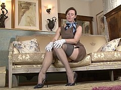 Aged lady stripping and furthermore teasing