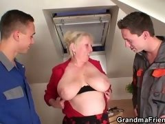 She takes a couple of cocks into her aged love hole and throat