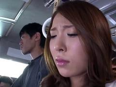 Naughty Asian cutie pie gets groped in the bus by some kinky dudes