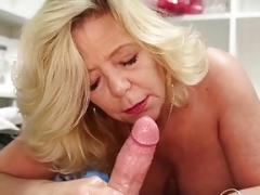 Old stepmom milks stepson oiled cock Point of view
