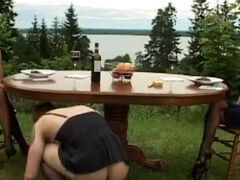 Food humiliation & facesitting femdom action for a sissy slave outdoors