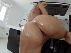 Lubed czech girl Satin Bloom riding cock and getting creampied