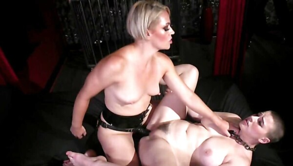 Blonde cougar dominates natural slave using favorite strapon