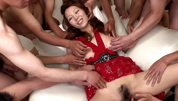 Japanese hairy MILF gets fondled and fucked in a gangbang