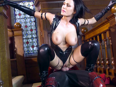 A raven haired babe in latex is getting a dick inside her meaty cunt