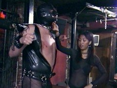kinky studs in a mask gets the enjoyment of being spanked Oriental bitch