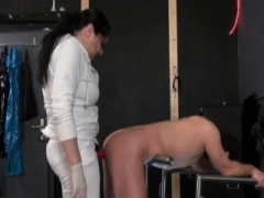 German Femdom goddess Pegs Guy with Red Strapon