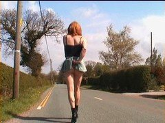 Zoe transvestite bitch exhibitionist hoe in micro-skirt