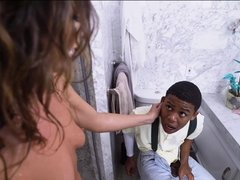Horny stepmom catches guy jerking off to her in a shower