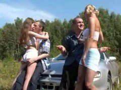 Hot outdoor russian foursome have sex on  car
