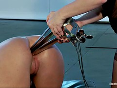 restrained roxy raye gets double fisted and electrocuted by nasty aiden starr