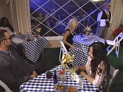 cute blonde engaged sex in a restaurant