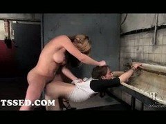 Breasty tranny gets down and dirty lad in asshole in public toilet