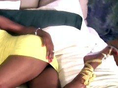 Ebony tranny is revealing big ass and jerks his big cock