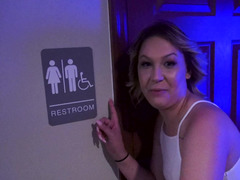 Bitch goes to public toilet and gets on her knees for sucking