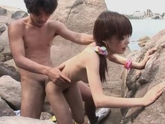 Very Skinny Asian Girl Makes Love With Her BF On The Beach