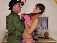 Submissive eurobabe creampied by maledom