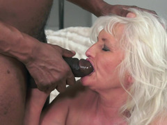 A granny gets her big saggy breasts groped by a big black man