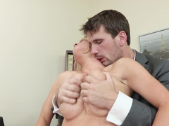 Short haired office chick gets nailed by an Euro porn stud