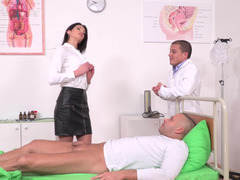 Slim nurse gets fucked by her patient and besides doctor from both sides