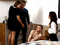 Aroused housewife humiliating her husband