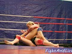 Busty wrestling lezzie seducing babes pussy