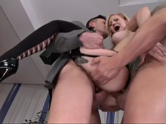 tough guys are tearing helena valentine's holes off in dp action