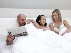 Charming colleens wake up in one bed with yummy man