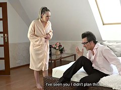 daddy4k. naughty dad successfully seduces naive girl to have quickie