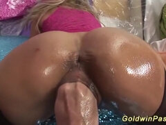Hot stepmom takes full fist and cum into pierced pussy