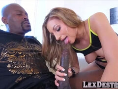 Petite latina Moka Mora gives a big black dick a sloppy blowing cock