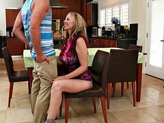 Sexy eager mom sucks dick of her son-in
