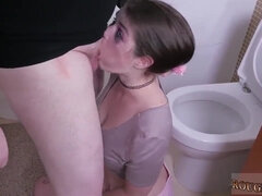Amateur Brunette Sluts Gets Rough Deepthroat Sex In Toilet