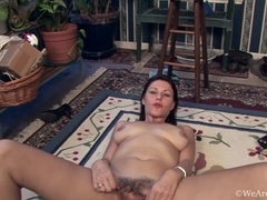 Gina Louise the gardener shows off her hairy body
