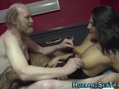 Bearded hobo has a luck to fuck a whore