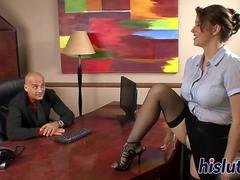 Breasty secretary bounces on a big rod