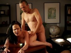 A horny young slut gets fucked by her father figure in the office