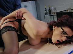 Docile worker forced to satisfy boss in front of her friend