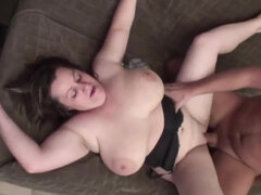Chubby big tits mom gets fucked in her bed
