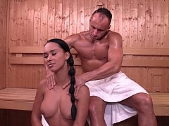 Czech broad Victoria Sweet in sauna