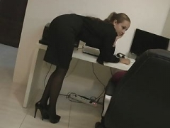 Secretary in tights wants love pole