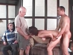 Cuckold Mom i`d like to fuck drilled by hired BBC Old husband enjoys watchin