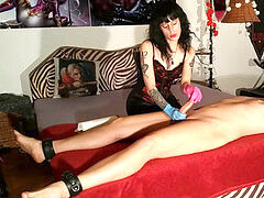 Goth sumptuous domina man rod taunt & ruined orgasm for slave pt1