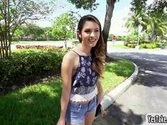 Innocent looking teenage Rayna Rose flashes breasts in public
