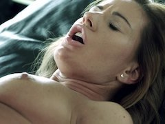 A blonde with natural tits is feeling some balls slamming against her