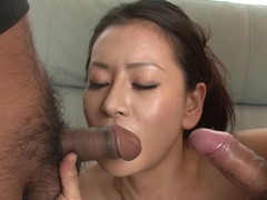 Tempting breasty experienced lady Rei Kitajima giving a great blow job