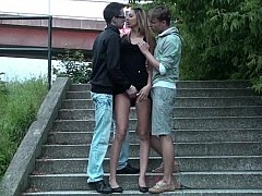 Euro threesome in public. Tall babe