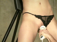Lactating sub confined and finger torn up to orgasm in the dungeon