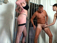 some beauties ballbusting and torturing this successful stud