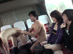 Oriental teen gave pussy to guy in crowded bus